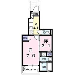 JR東海道本線 二川駅 徒歩2分の賃貸アパート 1階1Kの間取り