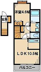 東武越生線 武州唐沢駅 徒歩7分の賃貸アパート 2階1LDKの間取り