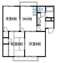 神奈川県綾瀬市小園の賃貸アパートの間取り