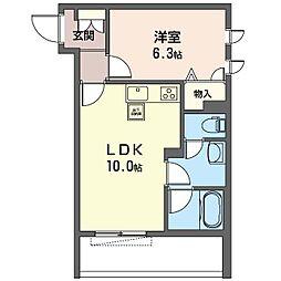 仮)世田谷区上祖師谷1丁目シャーメゾン 1階1LDKの間取り