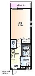 フジパレス太子橋II番館 1階1Kの間取り
