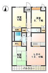 愛知県みよし市三好町大坪の賃貸アパートの間取り