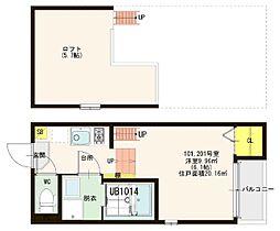 近鉄南大阪線 今川駅 徒歩9分の賃貸アパート 1階1Kの間取り