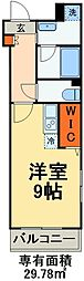 京成本線 海神駅 徒歩3分の賃貸マンション 2階ワンルームの間取り