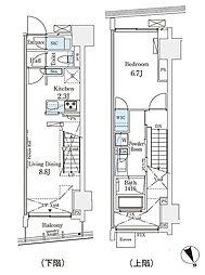 パークナードフィット南青山Vista 14階1LDKの間取り