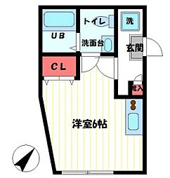 Comodo KAJIGAYA 1階ワンルームの間取り