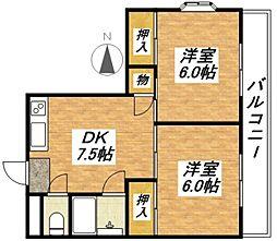 大阪府大阪市平野区加美北4丁目の賃貸マンションの間取り