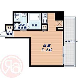 Osaka Metro長堀鶴見緑地線 西長堀駅 徒歩4分の賃貸マンション 6階ワンルームの間取り