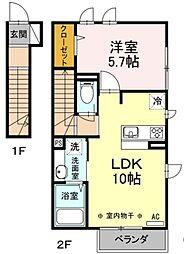 JR中央線 国立駅 徒歩14分の賃貸アパート 2階1LDKの間取り