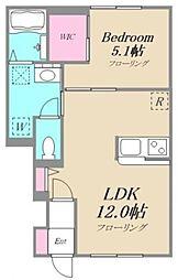 アンソレイユ 1階1LDKの間取り