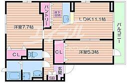 ルボアール箕面A棟[2階]の間取り