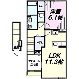 メゾン・ド・メルヴェイユ 2階1LDKの間取り