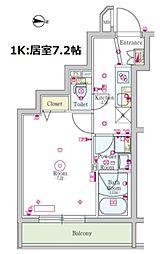 小田急小田原線 成城学園前駅 徒歩11分の賃貸マンション 4階1Kの間取り