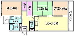大阪府豊中市上野西3丁目の賃貸マンションの間取り