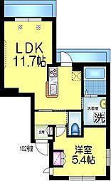 仮称)平田3丁目9メゾン 1階1LDKの間取り