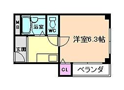 大阪府大阪市福島区海老江7丁目の賃貸マンションの間取り