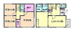 [テラスハウス] 大阪府豊中市東豊中町1丁目 の賃貸【/】の間取り
