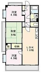 JR東北本線 土呂駅 徒歩10分の賃貸マンション 4階3LDKの間取り