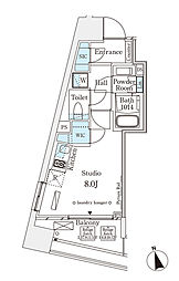 パークナードフィット南青山Vista 7階ワンルームの間取り