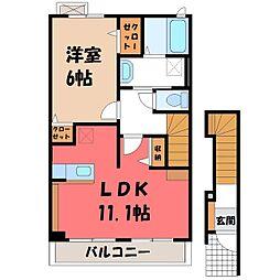 栃木県宇都宮市ゆいの杜6丁目の賃貸アパートの間取り