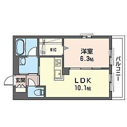 鶴見区生麦3丁目シャーメゾン (仮) 3階1LDKの間取り
