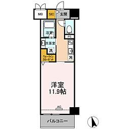 豊橋鉄道東田本線 札木駅 徒歩7分の賃貸マンション 3階1Kの間取り