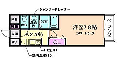 大阪府豊中市岡町の賃貸マンションの間取り