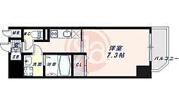 JR大阪環状線 寺田町駅 徒歩6分の賃貸マンション 7階1Kの間取り