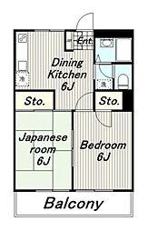 東京都多摩市諏訪1丁目の賃貸マンションの間取り
