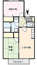 クレール津福II[2階]の間取り
