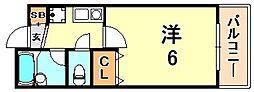 エクセレント坂田 2階1Kの間取り