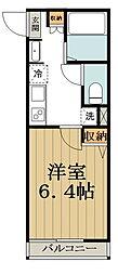 (仮称)中野区大和町計画 2階1Kの間取り