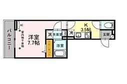 (仮称)D-room美園3丁目 2階1Kの間取り