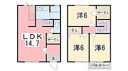 [タウンハウス] 兵庫県姫路市御立中1丁目 の賃貸【兵庫県 / 姫路市】の間取り