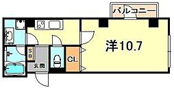 ドエル芦屋WEST 3階1Kの間取り