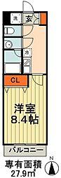 JR総武線 千葉駅 徒歩18分の賃貸マンション 2階1Kの間取り