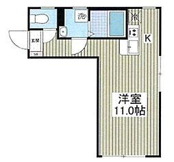 ルナーリア 2階ワンルームの間取り