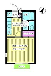 東京都目黒区東が丘2丁目の賃貸アパートの間取り