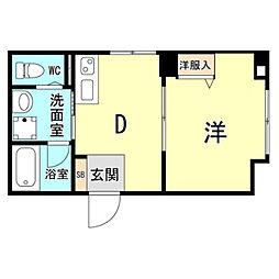 神戸市海岸線 ハーバーランド駅 徒歩10分の賃貸マンション 3階1DKの間取り