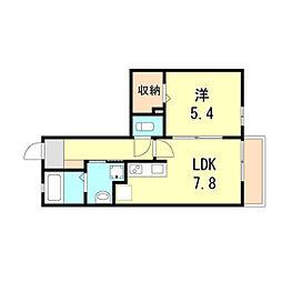 阪急神戸本線 六甲駅 徒歩20分の賃貸アパート 1階1LDKの間取り