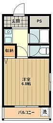 JR五日市線 東秋留駅 徒歩1分の賃貸マンション 4階1Kの間取り