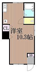 東京都大田区中央3丁目の賃貸アパートの間取り