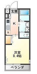 JR東海道本線 戸塚駅 徒歩14分の賃貸マンション 2階1Kの間取り