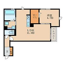 仮称)栗東市小柿1丁目DroomB 1階1LDKの間取り