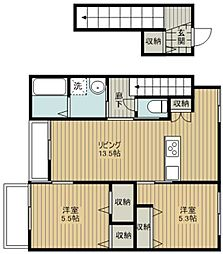 JR埼京線 北与野駅 徒歩15分の賃貸マンション 1階2LDKの間取り