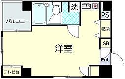 富美第一ビル 4階ワンルームの間取り