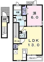 ニュー・シティ・エムズ 2階1LDKの間取り