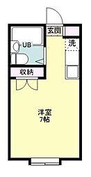 藤間コーポ 1階ワンルームの間取り
