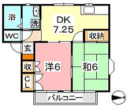 コーポカワサキ B[1階]の間取り