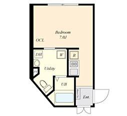 COVA HATAGAYA 2階ワンルームの間取り